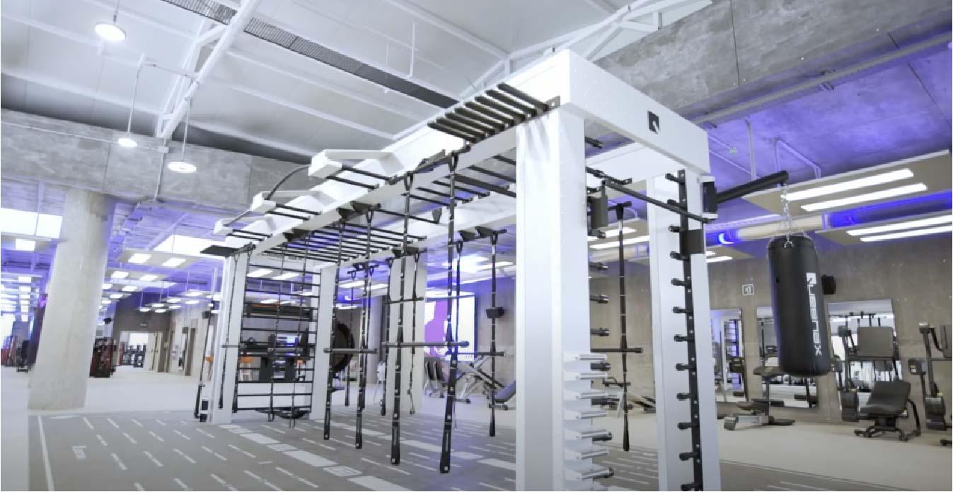 zona de ejercicio gimnasio MegaSport instalación Mallorca iluminación
